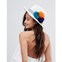 Sombrero Fedora de paja de tamaño ajustable en blanco con detalle de pompones de ASOS