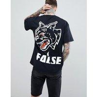 HNR LDN False Back Print T-Shirt - Black