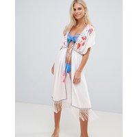 Accessorize Dreamweaver Kimono Beach Kaftan White - White