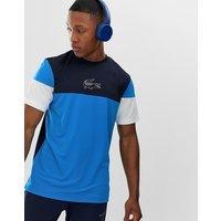 Lacoste Sport colour block t-shirt in blue - Blue