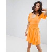 ASOSASOS Shirred Waist Tea Dress With Frill Sleeve - Orange