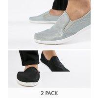 Truffle Collection 2 Pack Slip On Plimsolls - Black