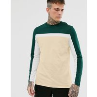 ASOS DESIGN long sleeve t-shirt with colour block panels in beige - Creme brulee