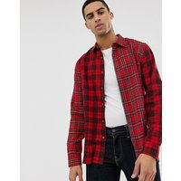 Hymn Patchwork Check Shirt - Red