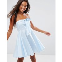 QED LondonQED London Strapless Bow Front Skater Dress - Pale blue