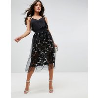 ASOSASOS Lace Prom Skirt with Tulle Overlay - Black