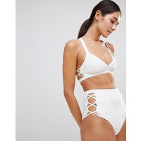 Asos Design Premium Lace Applique Strappy Crop Bikini Top - Ivory