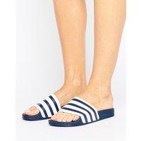 Sandalias sin cierre en blanco y azul marino Adilette de adidas Originals