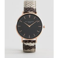 Elie Beaumont Watch With Snakeskin Print Strap - Gold