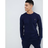 Polo Ralph Lauren waffle long sleeve top player logo in navy - Cruise navy