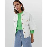 Pepe Jeans Crop Sleeve Denim Jacket - Ragged white