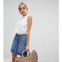 New Look Petite button through denim skirt in blue - Blue