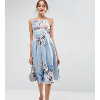 ASOS TallASOS TALL Strappy Pinny Floral Midi Debutante Dress - Multi