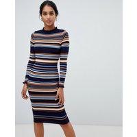 Oasis Knitted Midi Dress In Stripe - Multi