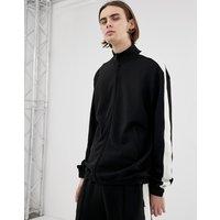 Weekday Track sweatshirt in black with side stripe - Black