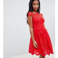 Chi Chi London Petite premium lace midi prom dress in red