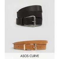 Pack de 2 cinturón para vaqueros y cinturón estrecho de ASOS DESIGN Curve