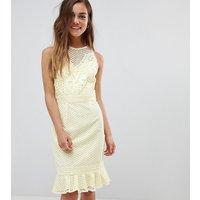 Little Mistress Petite lace applique shift dress with peplum hem in lemon - Lemon