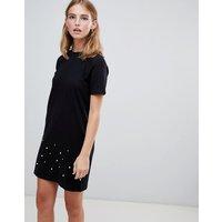 Brave Soul Madge T Shirt Dress With Pearl Trim - Black