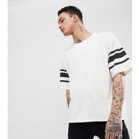 Heart & Dagger oversized t-shirt with striped sleeve - White