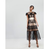 Tresophie Metallic And Lace Midi Dress - Black copper