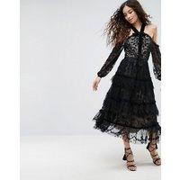 Needle & Thread Primrose Lace Cold Shoulder Dress - Black