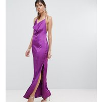 Fame and PartnersFame and Partners Straight Gown with Button Detailing - Deep purple