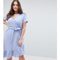 ASOS DESIGN Curve midi dress with belt and frill detail - Blue