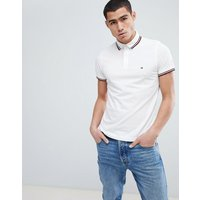 Tommy Hilfiger Icon Stripe Tipped Pique Polo Slim Fit Flag Logo in White - Bright white