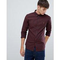 Farah Steen slim fit textured shirt in burgundy - Red