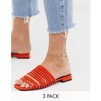 ASOS DESIGN pack of 3 anklets with dot dash and disc in gold tone - Gold