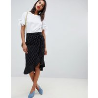 Oasis Wrap Midi Skirt With Frill Detail In Polka Dot - Multi