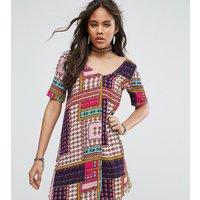 Glamorous TallGlamorous Tall Button Through Tea Dress In Patchwork Print - Multi