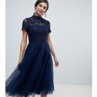Chi Chi London Tall high neck lace midi dress with tulle skirt in navy