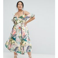 ASOS CurveASOS CURVE Floral Ruffle Prom Midi Dress - Multi