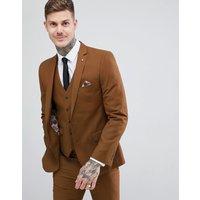 Harry Brown Slim Semi Plain Textured Suit Jacket - Toffee