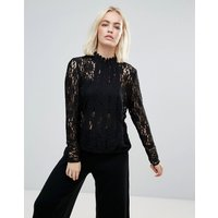 b.Young High Neck Lace Blouse - Black