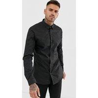 River Island slim fit shirt with glitter spot in black - Black