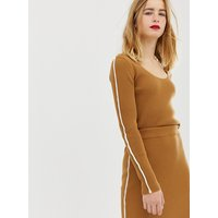 ASOS DESIGN co-ord jumper in rib with tipping - Camel