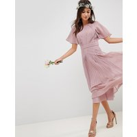 ASOS DESIGN pleated panelled short sleeve midi dress with lace inserts - Dusty pink