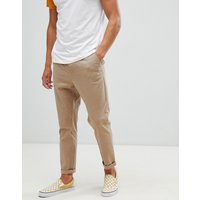 ASOS DESIGN tapered chinos in stone - Stone