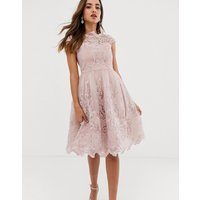 Chi Chi London premium lace midi prom dress with bardot neck in mink