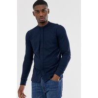 Jack & Jones Premium grandad collar jersey shirt in navy - Navy blazer