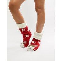 Sock Shop Corgi Fleece Lined Slipper Sock - Red
