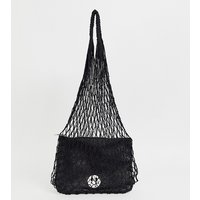 Hill and Friends Happy string shopper with leather pouch in black - Liquorice black