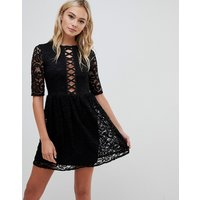 Urban Bliss cage dress in black lace - Black