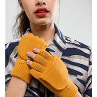 Accessorize Plain Capped With Foldover Mitten Gloves - Ochre