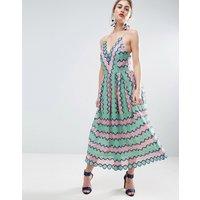 ASOSASOS SALON Lace Placed Multi Strap Back Midi Prom Dress - Multi