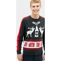 Burton Menswear out with the stags Christmas jumper in navy - Navy
