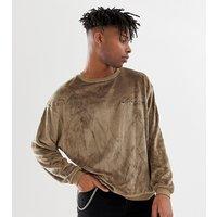 Heart & Dagger oversized sweatshirt in teddy fabric - Stone